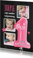 1e Verjaardag ballon roze - SG