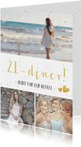 21-diner uitnodiging fotocollage met 3 eigen foto's