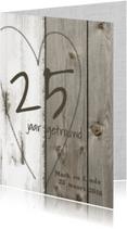 25 jarig jubileum huwelijk - hout linnen