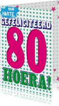 Verjaardagskaarten - 80 jaar van harte hoera-BF