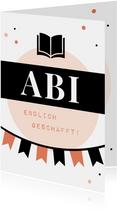 Abi-Glückwunschkarte schwarz-orange grafisch