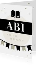 Abi-Glückwunschkarte schwarz-weiß grafisch