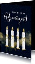 Adventskarte vier Kerzen mit Schleife