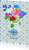 Bloemenkaarten - Ansichtkaart Delftsblauwevaas PA