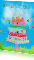 Verjaardagskaarten - Ansichtkaart Taart PA