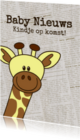 Baby nieuws! Giraffe krantprint