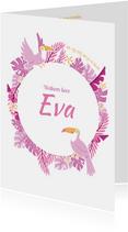 Babykaart jungle toekan roze paars