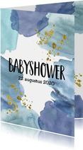 Babyshower uitnodiging | Aquarel blauw