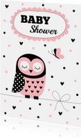 Babyshower uitnodiging uil roze