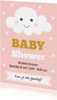Babyshower uitnodiging wolkje roze