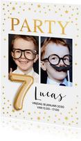 Kinderfeestjes - Ballon 7 jaar uitnodiging kinderfeestje foto goud confetti