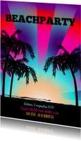 Uitnodigingen - BEACH PARTY palmbomen strand