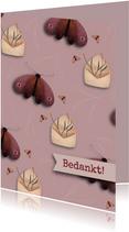 Bedank kaart met envelopjes en vlinders