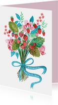 Bedank kaartje bosje aardbeien en bloemen