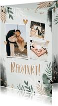 Bedankkaart bruiloft botanisch goud waterverf foto