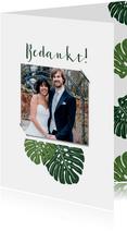 Bedankkaart bruiloft botanisch grote groen bladeren