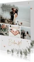 Bedankkaart bruiloft eucalyptus gouden hartjes foto's
