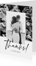 Bedankkaart bruiloft onderwater zwart wit stijlvol foto