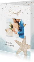 Bedankkaart bruiloft strand klassiek zeester goud