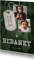Bedankkaart communie army stoer met fotos en legerplaatje