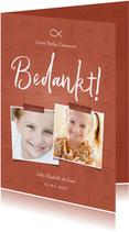 Bedankkaart communie christelijke symbolen met foto's meisje
