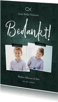Bedankkaart communie jongen christelijke symbolen met foto's