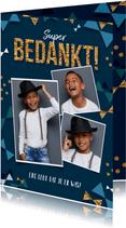 Bedankkaart communie jongen goud confetti strikjes foto