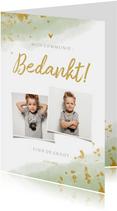 Bedankkaart communie jongen met waterverf en gouden spetters