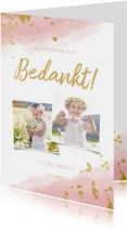 Bedankkaart communie meisje met waterverf en gouden spetters