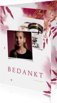 Bedankkaart communie met gouden bladeren en roze waterverf