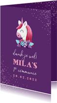 Bedankkaart communie met unicorn en confetti