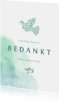 Bedankkaart communie met waterverf en duif van bloemen