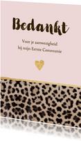 Bedankkaart communie panterprint hartje