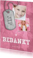 Bedankkaart communie roze stoer met fotos en legerplaatje