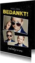 Bedankkaart communie stoer jongen spetters goud fotocollage