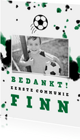 Bedankkaart communie voetbal met foto en spetters