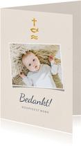 Bedankkaart doopfeest christelijke symbolen en foto
