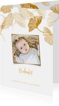 Bedankkaart doopsel ginkgo goud met foto