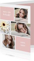 Bedankkaart fotocollage aanpasbare kleur