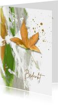 Bedankkaart geel herfstblad met groen