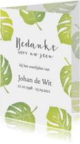 Bedankkaart groene bladeren