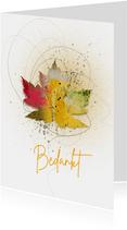 Bedankkaart herfstblad in kleur