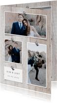 Bedankkaart hout met foto's en spijkers