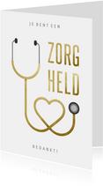 Bedankkaart hulpverlener zorgheld stethoscoop hart