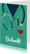 Bedankkaart hulpverleners stethoscoop dokter