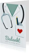 Bedankkaart hulpverleners stethoscoop verpleger