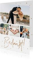 Bedankkaart huwelijk stijlvol goudlook confetti fotocollage