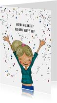 Bedankkaart juf of meester met illustratie meisje