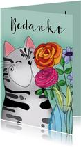 Bedankkaart kat met vaas bloemen - SK