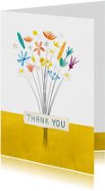 Bedankkaart met boeket bloemen 'thank you'